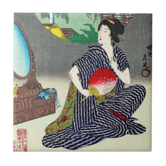 Cool traditional japanese woodprint geisha art tile