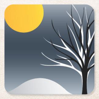 Cool Tree Silhouette Winter Scene Paper Coaster