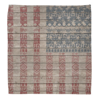 Cool trendy America flag Aztec tribal pattern Bandana