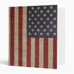 Cool trendy America flag burlap texture Binders