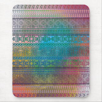 Cool trendy Aztec geometric pattern colourful Mouse Pad