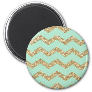 Cool Trendy Chevron Zigzag Mint Faux Gold Glitter 2 Inch Round Magnet