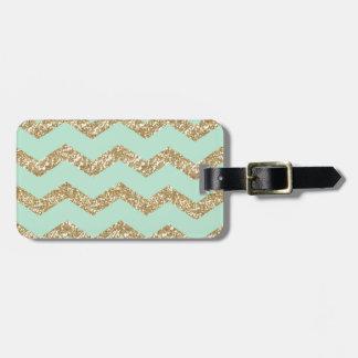 Cool Trendy Chevron Zigzag Mint Faux Gold Glitter Bag Tag