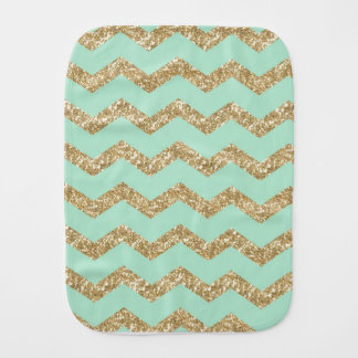 Cool Trendy Chevron Zigzag Mint Faux Gold Glitter Burp Cloths