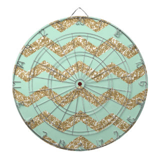 Cool Trendy Chevron Zigzag Mint Faux Gold Glitter Dartboard With Darts