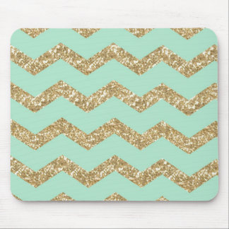 Cool Trendy Chevron Zigzag Mint Faux Gold Glitter Mouse Pad