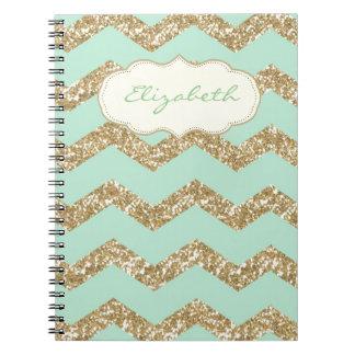 Cool Trendy Chevron Zigzag Mint Faux Gold Glitter Notebooks