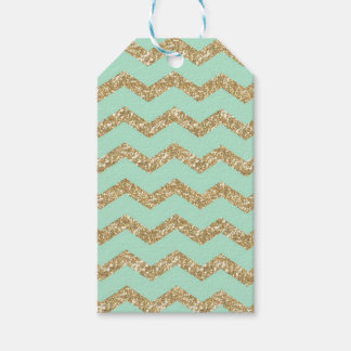 Cool Trendy Chevron Zigzag Mint Faux Gold Glitter Pack Of Gift Tags