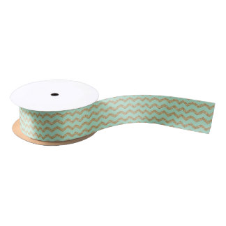 Cool Trendy Chevron Zigzag Mint Faux Gold Glitter Satin Ribbon