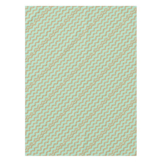 Cool Trendy Chevron Zigzag Mint Faux Gold Glitter Tablecloth
