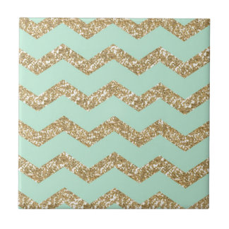 Cool Trendy Chevron Zigzag Mint Faux Gold Glitter Tile