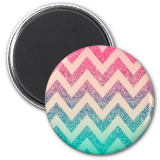 Cool Trendy Chevron Zigzag ,Ombre Glitter 2 Inch Round Magnet