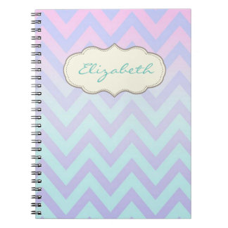 Cool Trendy Chevron Zigzag Ombre  Glitter Spiral Notebook