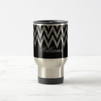 Cool trendy chevron zigzag silver faux glitter travel mug
