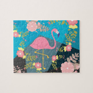 Cool Trendy Chic Cute Pink Girly Floral Flamingo Jigsaw Puzzle