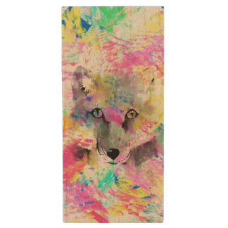 Cool trendy colourful vibrant fox abstract paint wood USB 2.0 flash drive