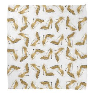 Cool trendy faux gold glitter high heel shoes bandana