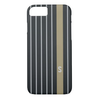 Cool trendy masculine black grey stripes monogram iPhone 8/7 case