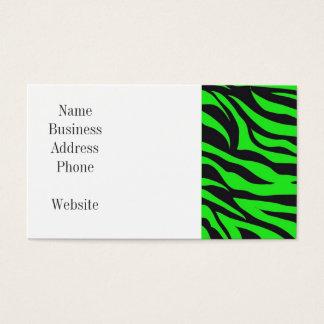Cool Trendy Neon Lime Green Zebra Stripes Pattern Business Card