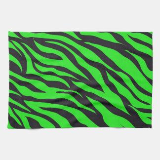 Cool Trendy Neon Lime Green Zebra Stripes Pattern Kitchen Towel
