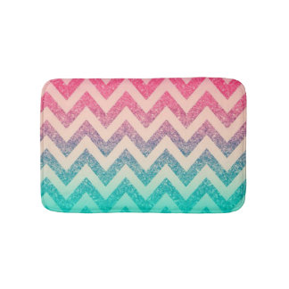 Cool Trendy  Ombre Zigzag Chevron Pattern Bath Mat