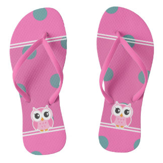 Cool Trendy Polka Dots With Cute Owl Flip Flops