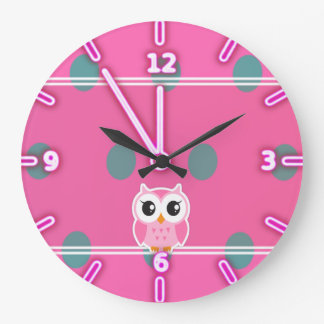Cool Trendy Polka Dots With Cute Owl Large Clock