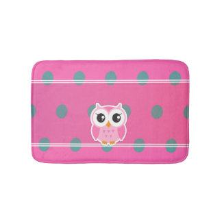 Cool Trendy Polka Dots With Cute Owl-Personalized Bath Mat