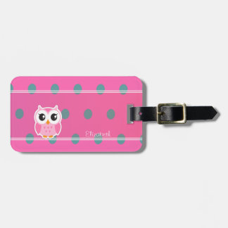 Cool Trendy Polka Dots With Cute Owl-Personalized Luggage Tag