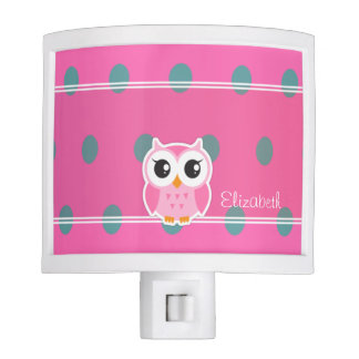 Cool Trendy Polka Dots With Cute Owl-Personalized Night Lights