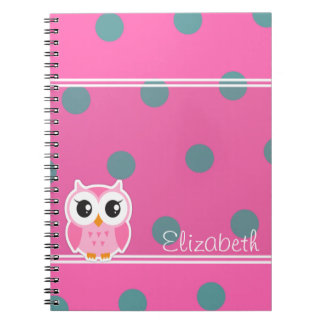 Cool Trendy Polka Dots With Cute Owl-Personalized Notebook