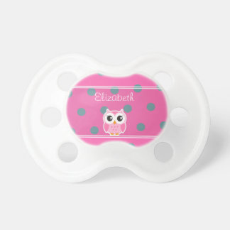 Cool Trendy Polka Dots With Cute Owl-Personalized Pacifier