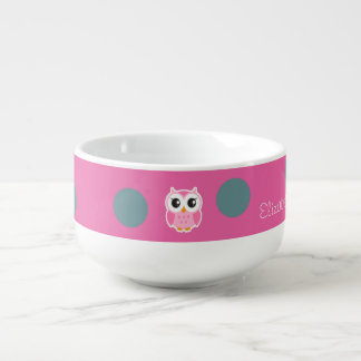 Cool Trendy Polka Dots With Cute Owl-Personalized Soup Mug