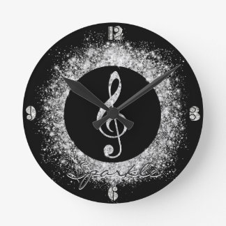 Cool trendy sparkles glitter dust  treble clef round clock