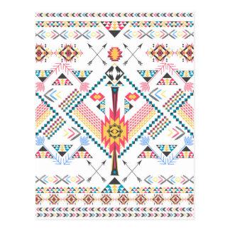 Cool trendy tribal ethnic geometric pattern post cards