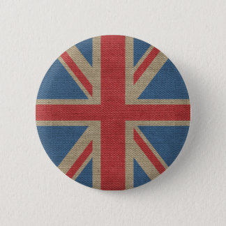 Cool trendy U.K. Union Jack Flag burlap texture 2 Inch Round Button