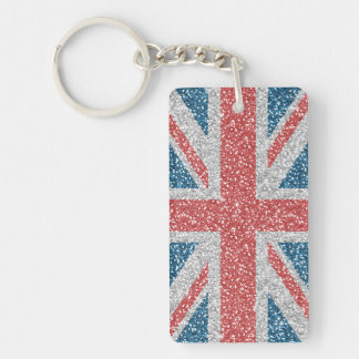 Cool trendy U.K. Union Jack flag faux glitter Double-Sided Rectangular Acrylic Keychain
