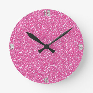 Cool trendy vibrant neon hot pink faux glitter round clock