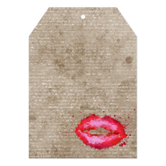 "Cool trendy vintage watercolours lips splatters 5"" x 7"" invitation card"