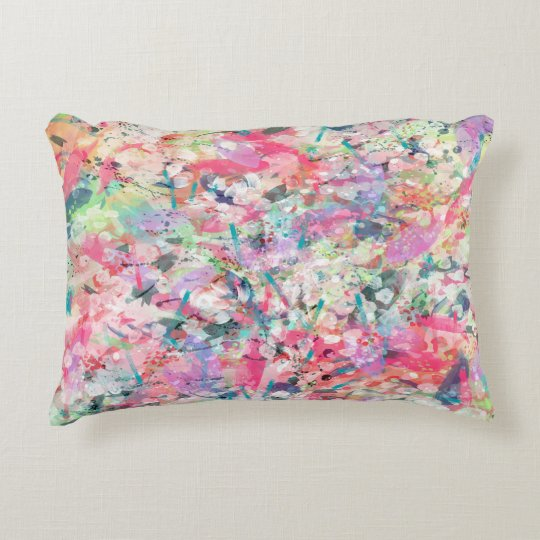 Cool trendy watercolor splatters abstract art decorative pillow