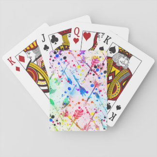 Cool trendy watercolor splatters tribal arrows playing cards