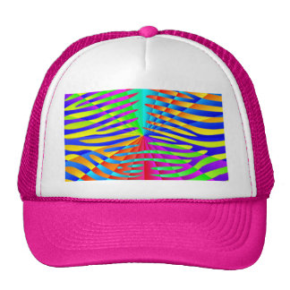 Cool trendy Zebra pattern colorful rainbow stripes Hat