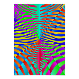 Cool trendy Zebra pattern colorful rainbow stripes Posters