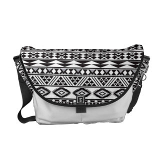 cool tribal pattern geomatric black and white courier bag