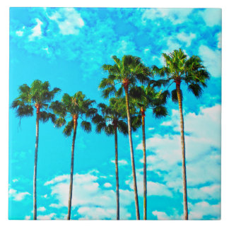 Cool Tropical Palm Trees Blue Sky Ceramic Tiles