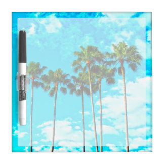 Cool Tropical Palm Trees Blue Sky Dry Erase Board