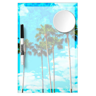 Cool Tropical Palm Trees Blue Sky Dry Erase Board With Mirror