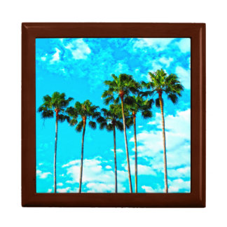 Cool Tropical Palm Trees Blue Sky Gift Box