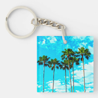 Cool Tropical Palm Trees Blue Sky Keychain