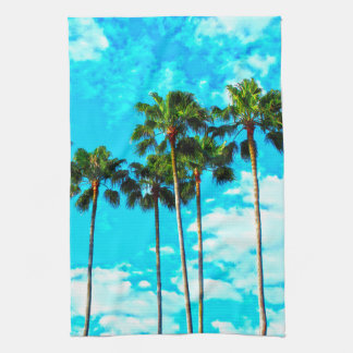 Cool Tropical Palm Trees Blue Sky Kitchen Towel